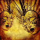 Golden background with Venetian masks by gameover