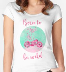 Born to be wild flower power motorcycle Women's Fitted Scoop T-Shirt
