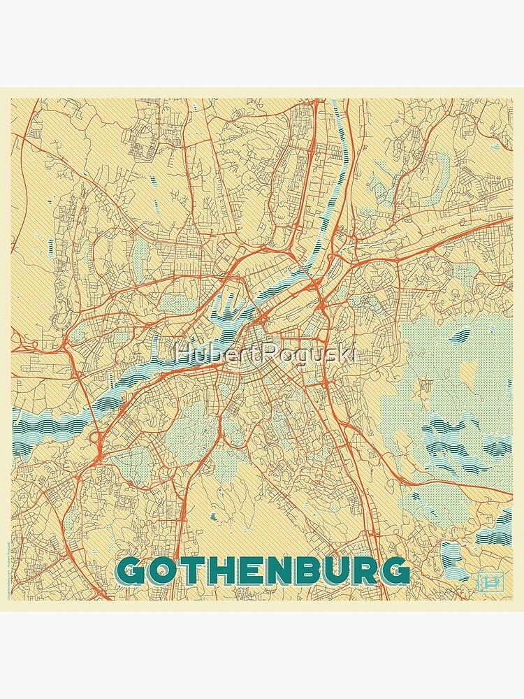 Gothenburg Map Retro by HubertRoguski