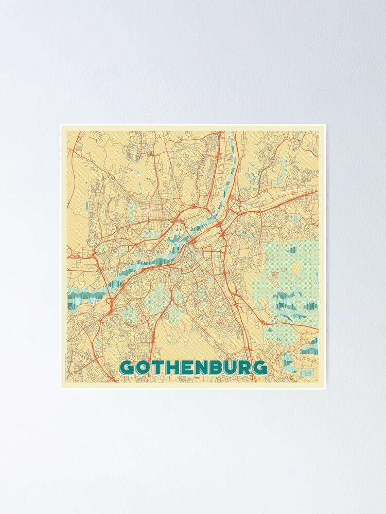 Alternate view of Gothenburg Map Retro Poster