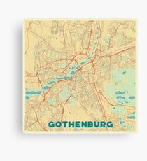 Gothenburg Map Retro Canvas Print