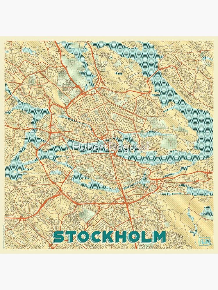 Stockholm Map Retro by HubertRoguski