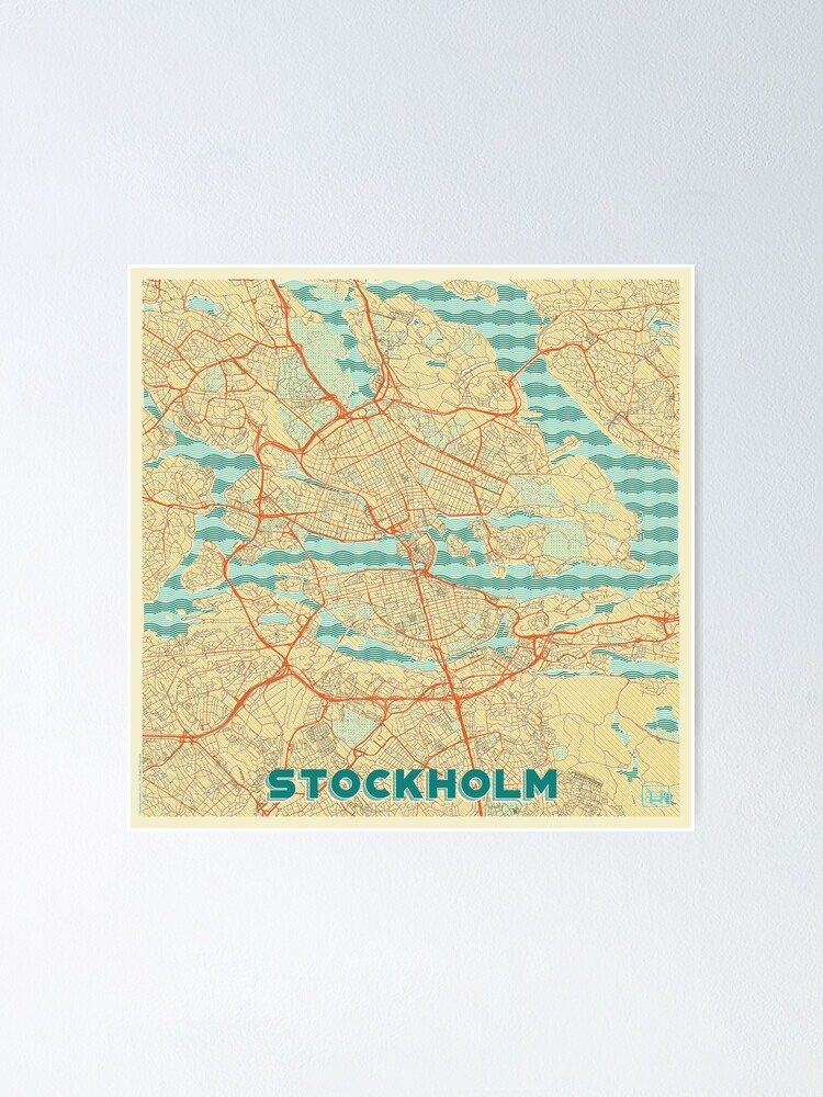 Alternate view of Stockholm Map Retro Poster