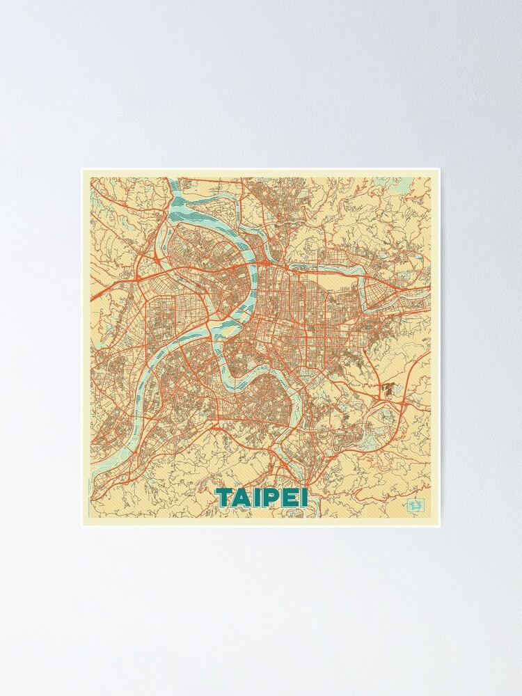 Alternate view of Taipei Map Retro Poster