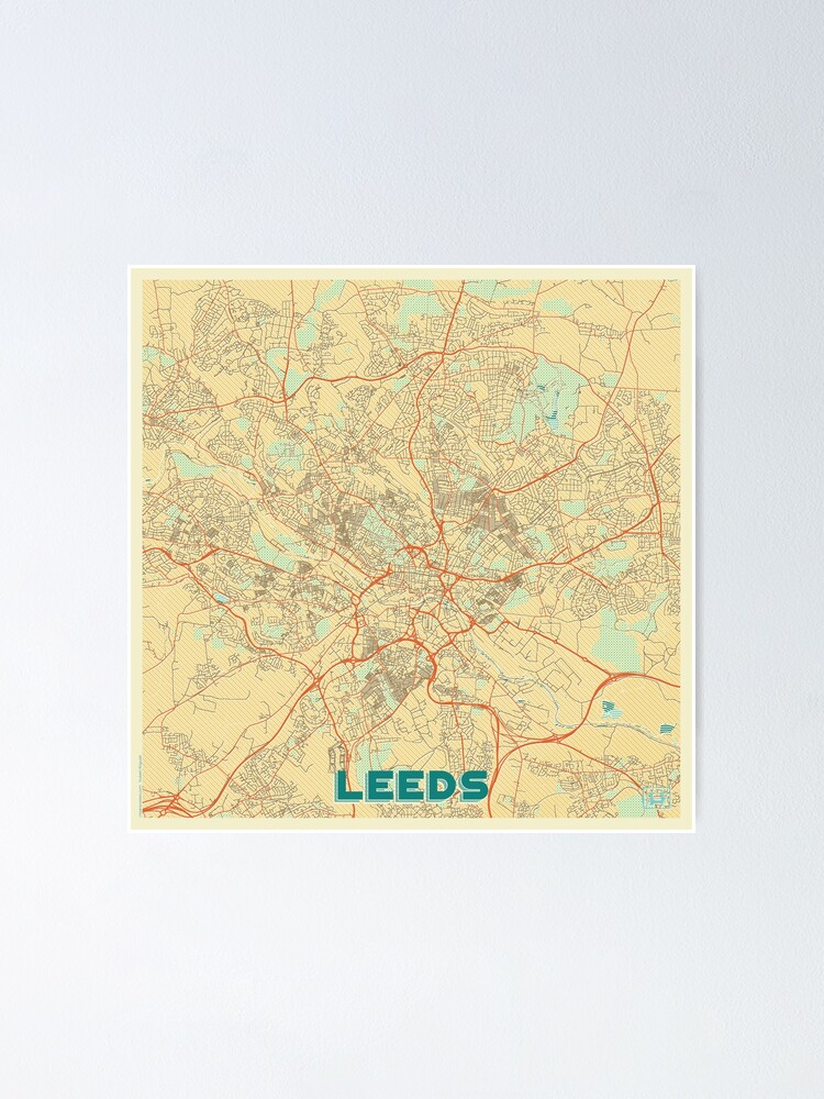 Alternate view of Leeds Map Retro Poster