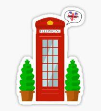 """Hello Love"" - English Telephone Booth Sticker"