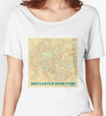 Newcastle upon Tyne Map Retro Women's Relaxed Fit T-Shirt