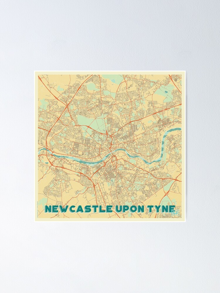 Alternate view of Newcastle upon Tyne Map Retro Poster