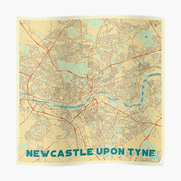 Newcastle upon Tyne Map Retro Poster