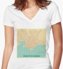 Montevideo Map Retro Women's Fitted V-Neck T-Shirt