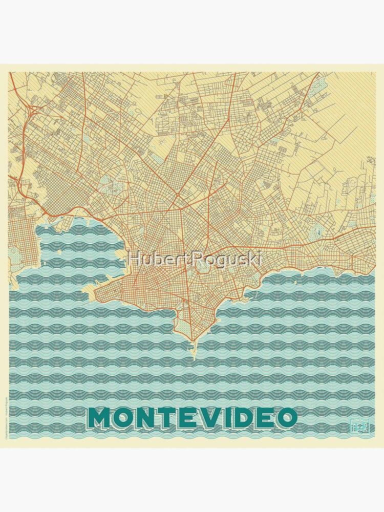 Montevideo Map Retro by HubertRoguski
