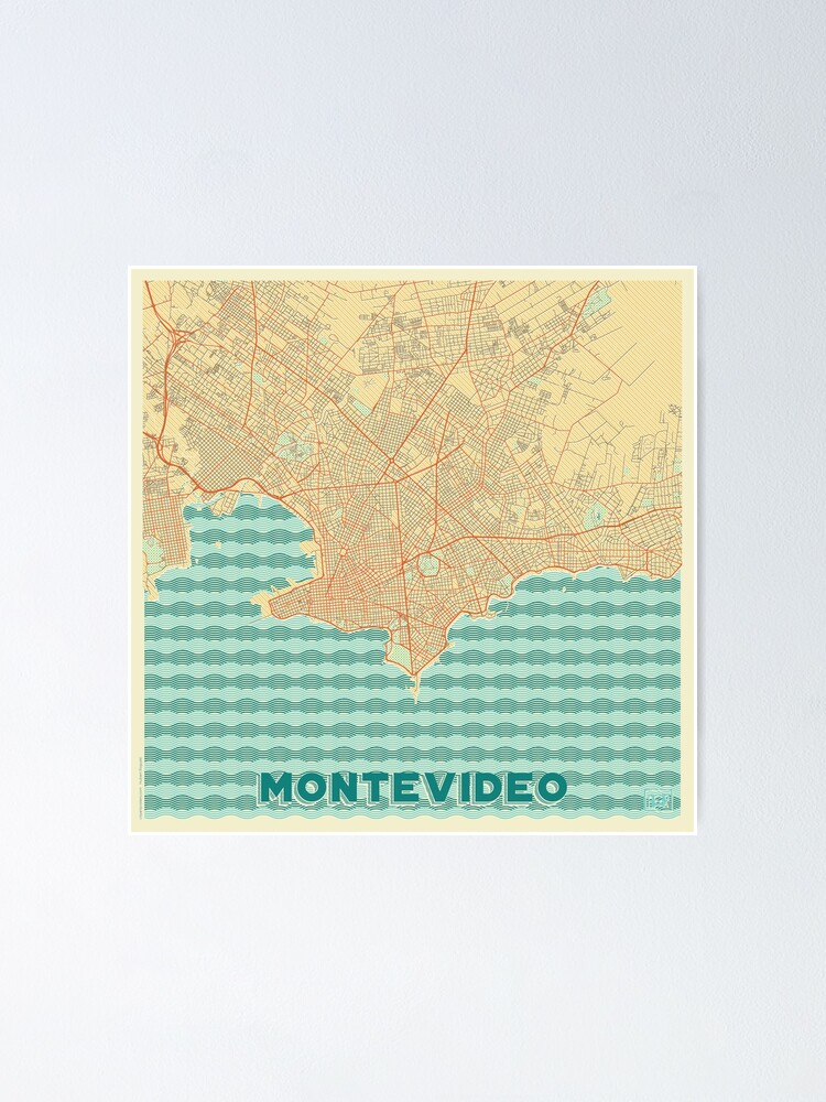 Alternate view of Montevideo Map Retro Poster