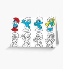 smurfs lineart Greeting Card