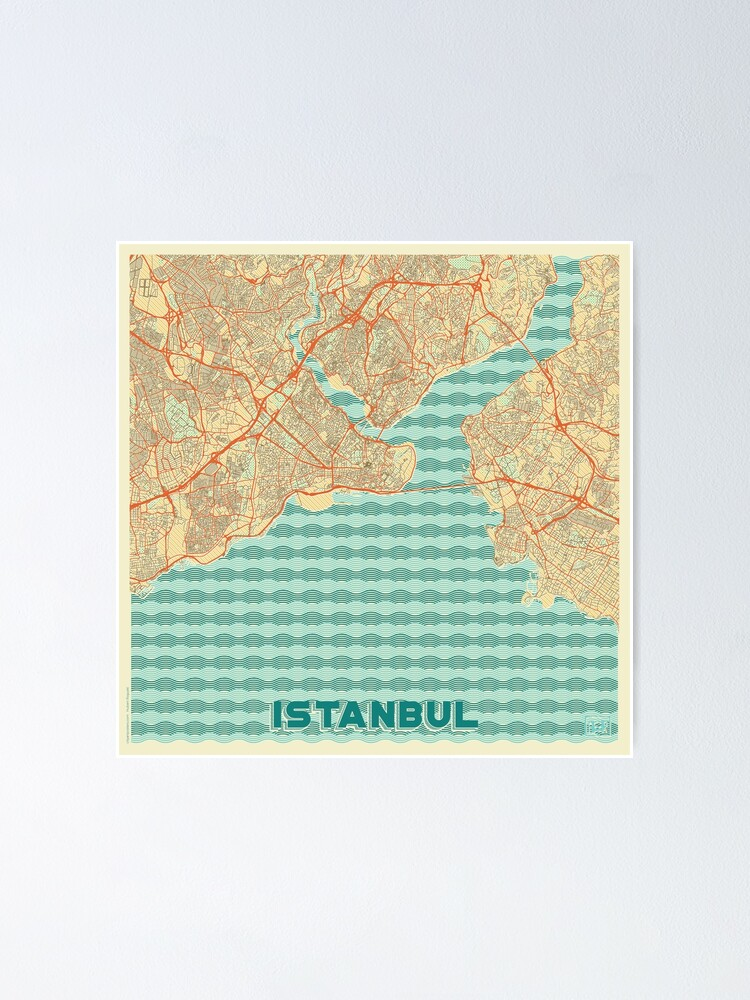 Alternate view of Istanbul Map Retro Poster