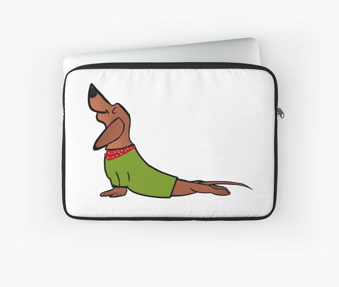 Christmas Gift Funny Yoga Tshirt Dachshund Yoga Shirt Laptop