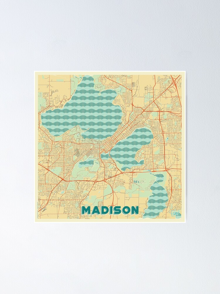 Alternate view of Madison Map Retro Poster