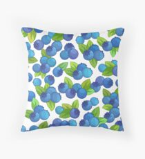 Pattern with blueberry on a white background. Throw Pillow
