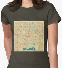 Orlando Map Retro Womens Fitted T-Shirt