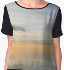 Peace and Quiet in Soft Yellows Grays and Blues Chiffon Top