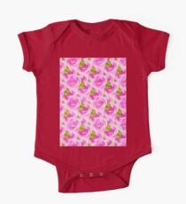 Pink Roses Pattern One Piece - Short Sleeve