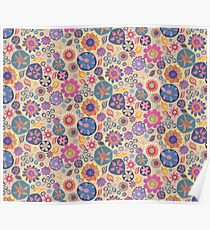 Rich Folk Floral All Over Pattern Poster