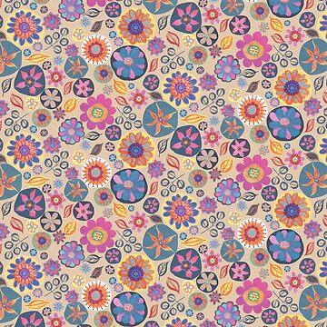 Rich Folk Floral All Over Pattern by GabsBuckingham