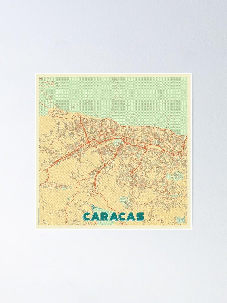 Alternate view of Caracas Map Retro Poster