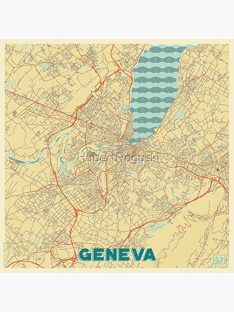 Geneva Map Retro by HubertRoguski