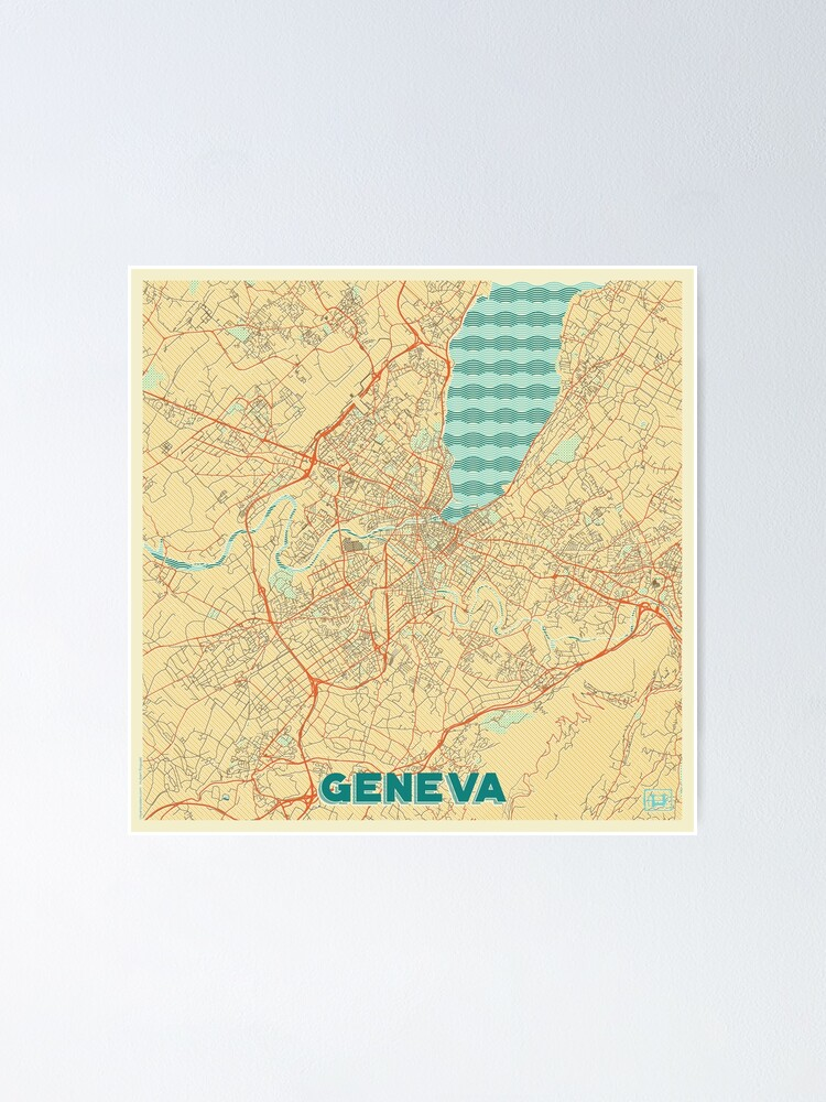 Alternate view of Geneva Map Retro Poster