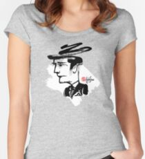 Thoughtful Banker BW - Crazy Faces One - Habu-San Design Women's Fitted Scoop T-Shirt