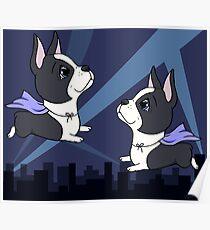 Boston Terrier Superheroes Poster