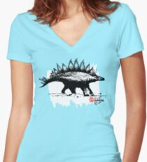 Dinosaur BW - Animals One - Habu-San Design Women's Fitted V-Neck T-Shirt