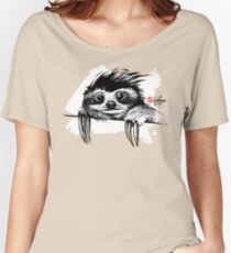 Cute Sloth BW - Animals One - Habu-San Design Women's Relaxed Fit T-Shirt