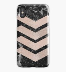 Black marble & rose gold chevrons iPhone Case/Skin