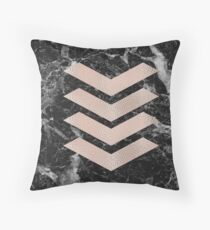 Black marble & rose gold chevrons Throw Pillow