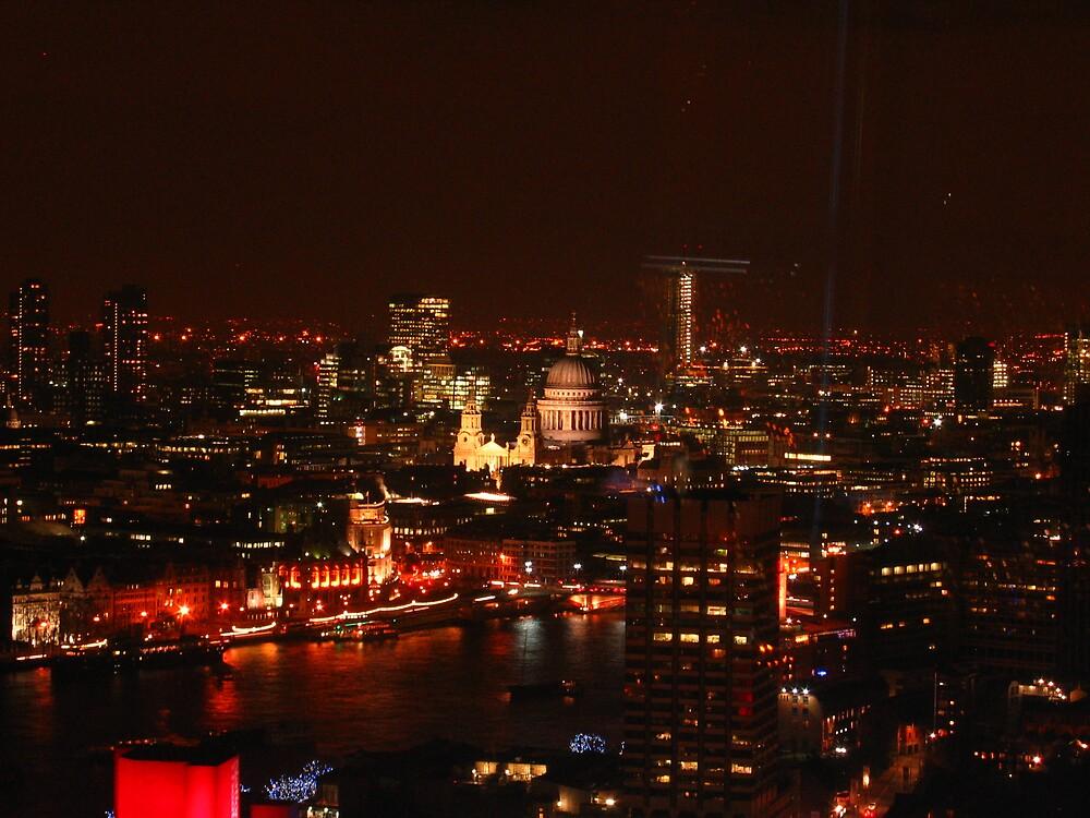 London's City Skyline By Night by Graham Ettridge