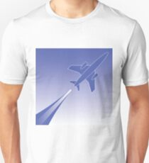 colorful illustration with silhouette of airplane in flight for your design Unisex T-Shirt