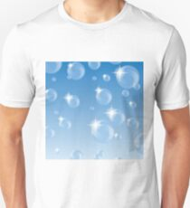 Foam Transparent Bubbles on Blue Gradient Background T-Shirt