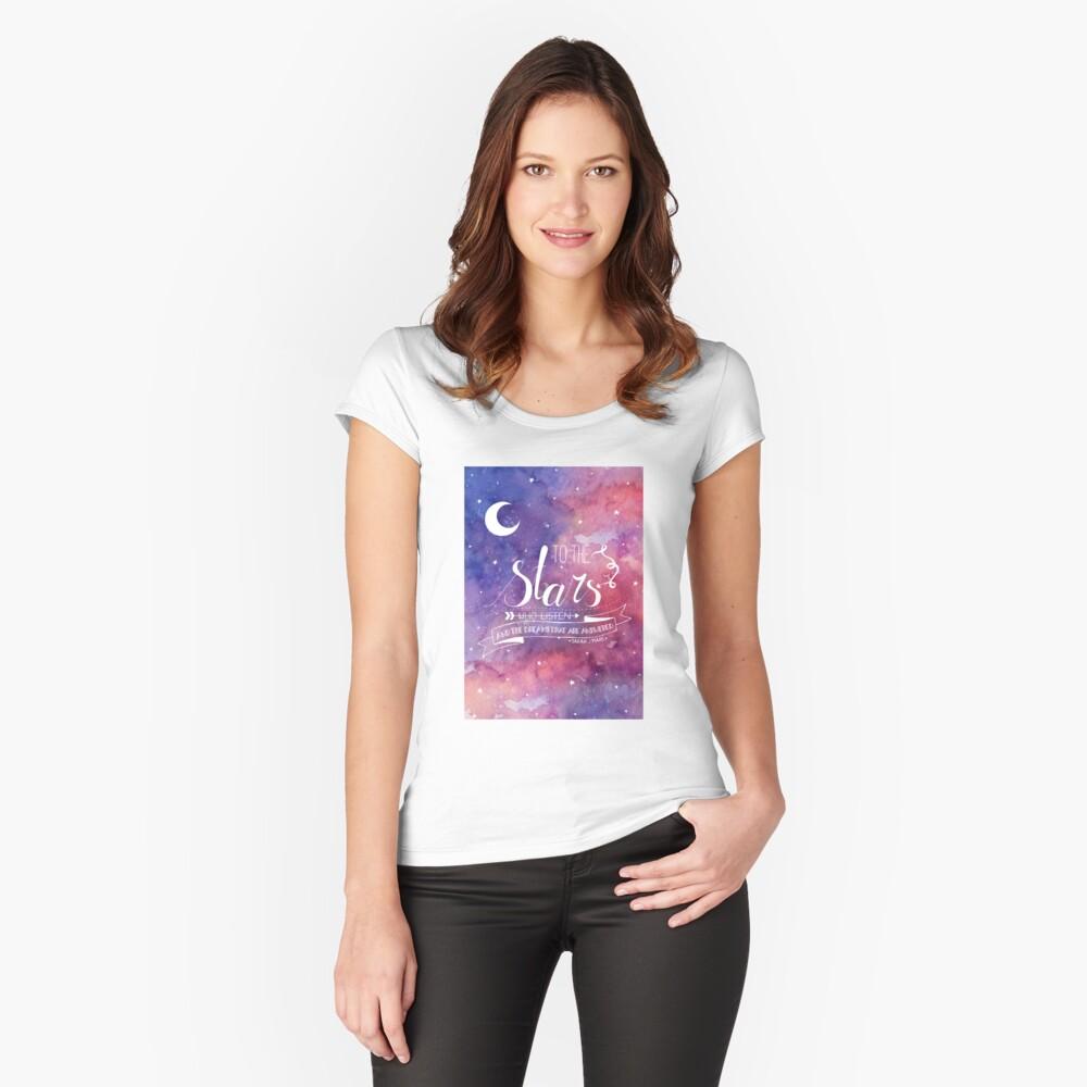 Zu den Sternen ACOMAF-Zitat Tailliertes Rundhals-Shirt