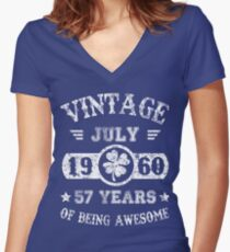 Birthday July 1960 57 Years Of Being Awesome Women's Fitted V-Neck T-Shirt