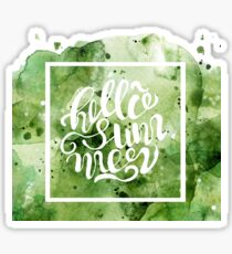 green watercolor Splash Hello summer Sticker