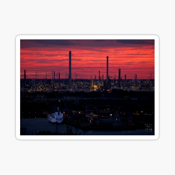 Rotterdam Harbour Skyline at Sunset, from Euromast Sticker