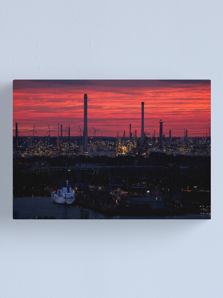 Alternate view of Rotterdam Harbour Skyline at Sunset, from Euromast Canvas Print