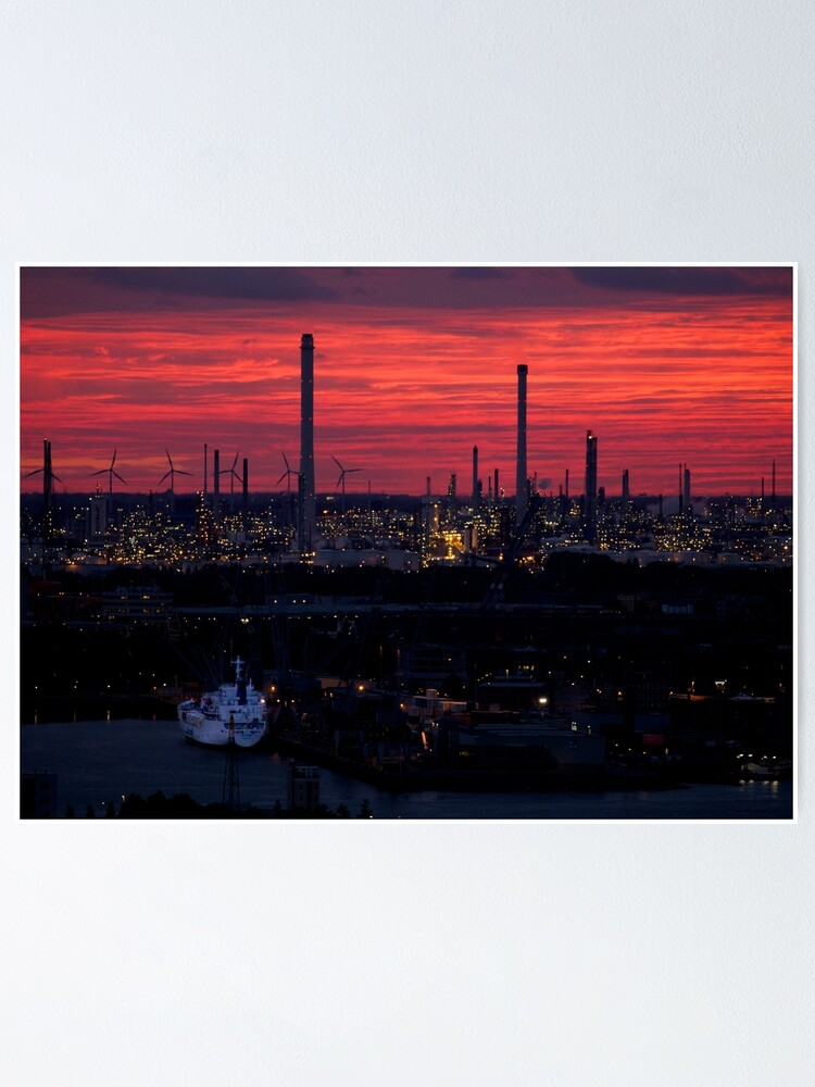 Alternate view of Rotterdam Harbour Skyline at Sunset, from Euromast Poster