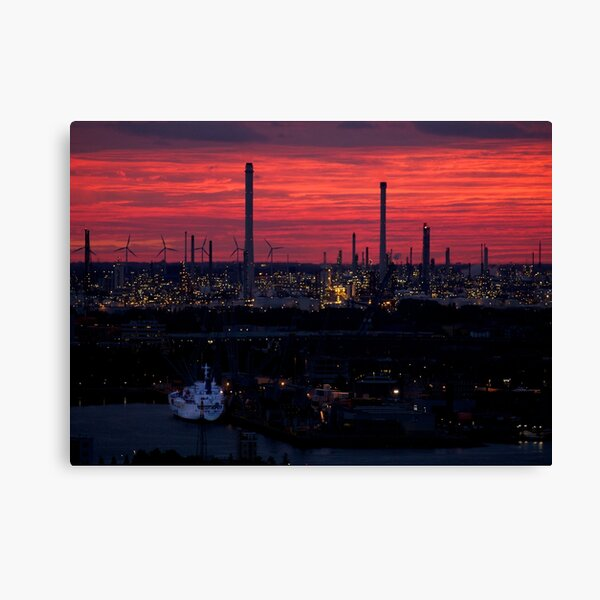 Rotterdam Harbour Skyline at Sunset, from Euromast Canvas Print