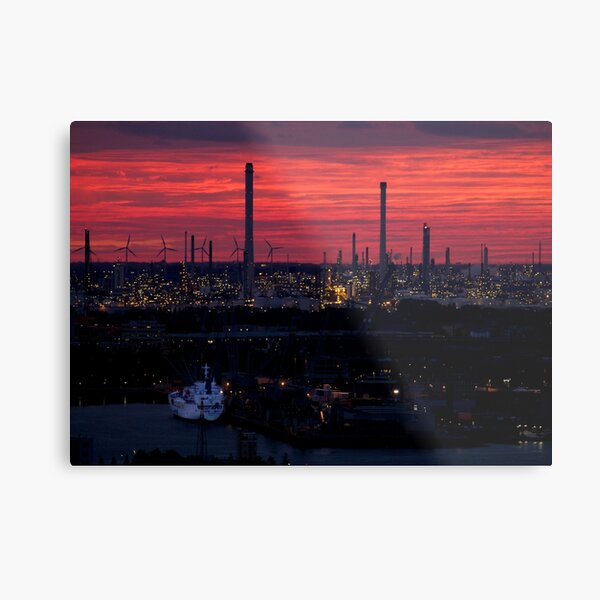 Rotterdam Harbour Skyline at Sunset, from Euromast Metal Print