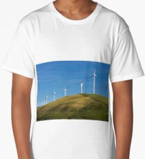 Row of wind turbines on hill Long T-Shirt