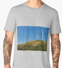 Row of wind turbines on hill Men's Premium T-Shirt