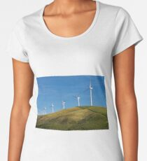 Row of wind turbines on hill Women's Premium T-Shirt