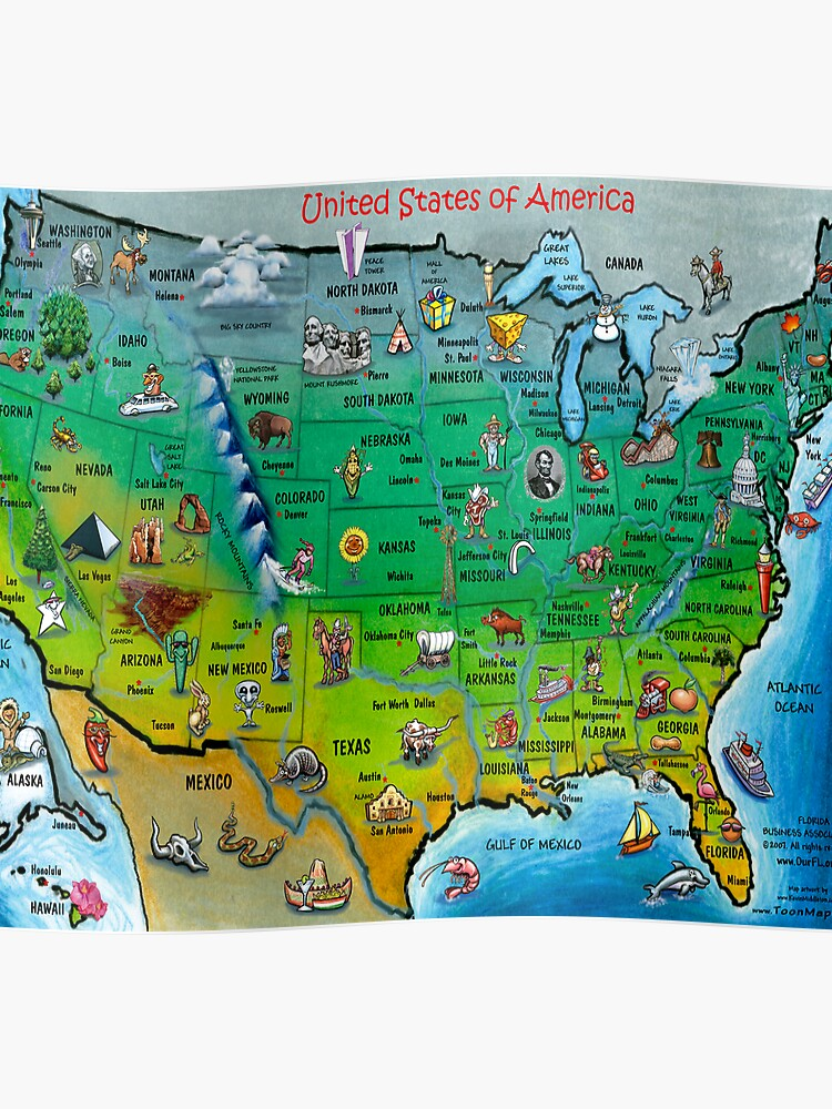 USA Cartoon Map | Poster on camera poster, wisconsin poster, team usa poster, south dakota poster, usa ww1 propaganda posters, dinosaurs poster, colorado poster, georgia poster, usa maps with cities and highways, tennessee poster, maryland poster, kentucky poster, under the sea poster, usa poster for classroom, arizona poster, north dakota poster, bike poster, florida poster, vermont poster, new jersey poster,